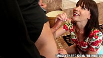 Horny brunette wife talks her man out of going to work