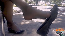 Shoeplay with stockings and flats