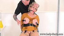 Busty Milf Lady Sonia gets her nipples tortured and clamped صورة