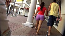 Candid Latina Walking In Pink Spandex Shorts