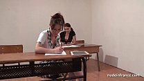 French students hard ass fucked and fisted in FFM threesome in classroom video