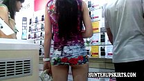 Lady in white top upskirt Thumbnail