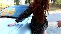 Image: Nerdy red head gets fucked on car