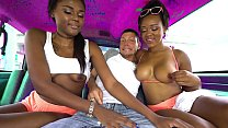 Two black hotties get in the van for some fun