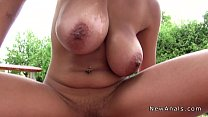 Huge tits girlfriend anal fucked outdoor pov thumbnail