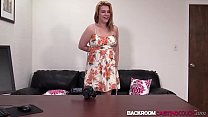 Busty blonde Josline creampied after casting couch cowgirl