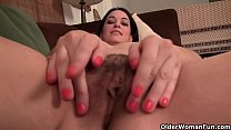 American mom Stacy plays with pantyhosed pussy
