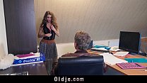 Sexy young secretary blackmails her old boss fo...