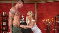 Tattooed guy doggy bangs blonde masseuse
