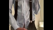 Teen wanking in formal outfit with suspenders on