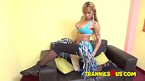 Blonde TGirl with Big Tits Fucking a Lucky Dude from Behind