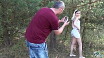 MyFirstPublic Petite Teen Blonde Hardcore sex in forest with Stepdad