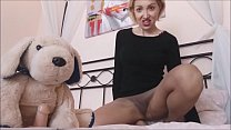 my little dog has to be in heat ... I jerk it off with my stockings