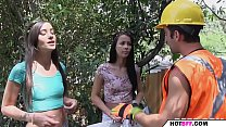 horny college babes fuck the worker