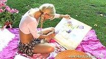 blonde hottie tasing and playing