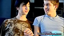 Fat guy gay twinks Levon and Aidan enjoy observing gay porn movies to