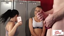 Voyeur gym duo film JOI in fitness lockerroom