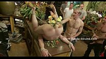 Gay studs in public shop group sex