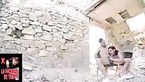 Swallowing cock and cum in a ruined house