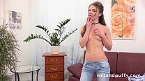Cherry Pussy - Russian brunette wraps her pussy lips around her panties