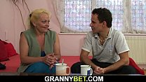 Hitchhiking old granny and boy fucking outside Preview