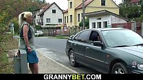 Hitchhiking old granny and boy fucking outside video