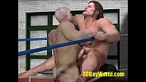Brutal Fuck Of Strong Muscle Guys In The Boxing Ring. 3D Gay Animation
