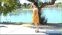 Sexy teenager amateur Kylie flash her pink pussy by the lake - mis videos porno thumbnail