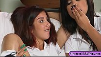 Two schoolgirls and busty mom lesbian sex on the couch pornhub video