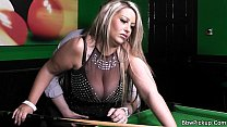 Stranger bangs lovely BBW in nylons on the pool table