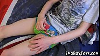Young twink masterbating in bed