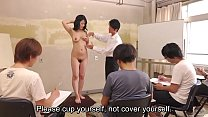 Subtitled CMNF ENF shy Japanese milf nude art class in HD Image