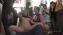 Natural busty slave serves the public