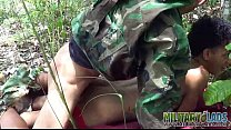 Cute boy gets army ass-to-mouth outdoors