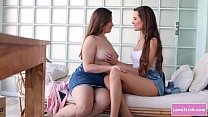 Lesbian babe licks her sexy busty bff