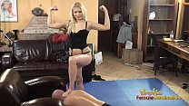 Blondes tells submissive to lick and eat feet 3