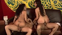 Two exotic bitches riding two cocks in tandem