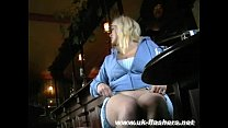 Busty blonde amateur babe Cherry upskirts masturbation in a pub and public