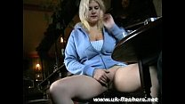Busty blonde amateur babe Cherry upskirts masturbation in a pub and public Preview