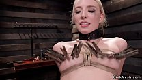 Clamped boobs blonde trainee fucked