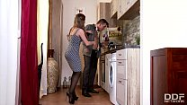 Horny Young Wife in Stockings bangs Husband in ...