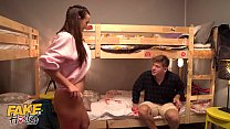Fake Hostel threesome with big ass babes seducing huge cock
