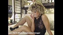 Blond Big-Titted Cougar Masturbating with Dildo
