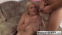 Old grandma takes a pussy pounding on the couch pornhub video