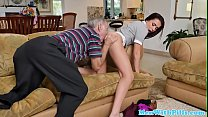 Schoolgirl sucks geriatric then gets rimmed