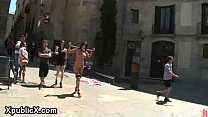 Two babes walked and fucked on the streets preview image
