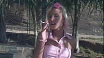 Young smoking blonde gal Angel Couture likes to caress her pussy with lollipop or toy while her boyfriend nails her butt
