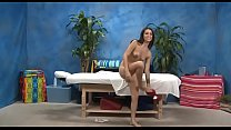 Naked babes rubbing in massage room