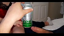 His neighbor drinks beer and at the same time sucks his cock deep and spit it out.