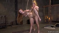 Restrained in bondage long hair slut banged